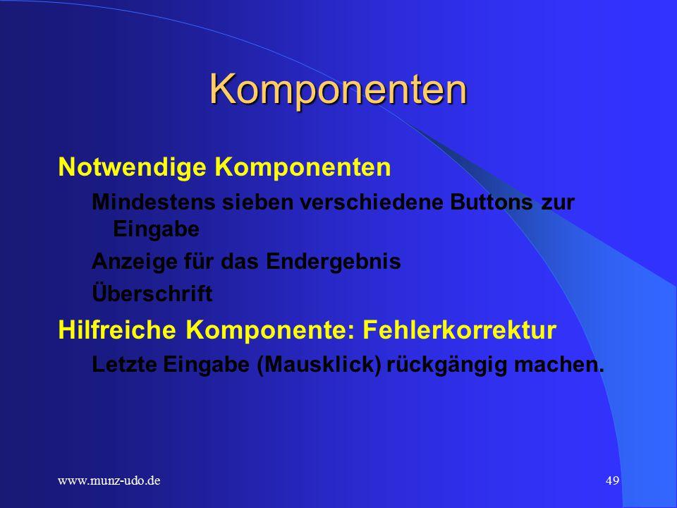 www.munz-udo.de48 Münzen zählen Erstellen Sie ein einfaches Zählprogramm, das Euromünzen durch Mausklick aufsummieren soll.