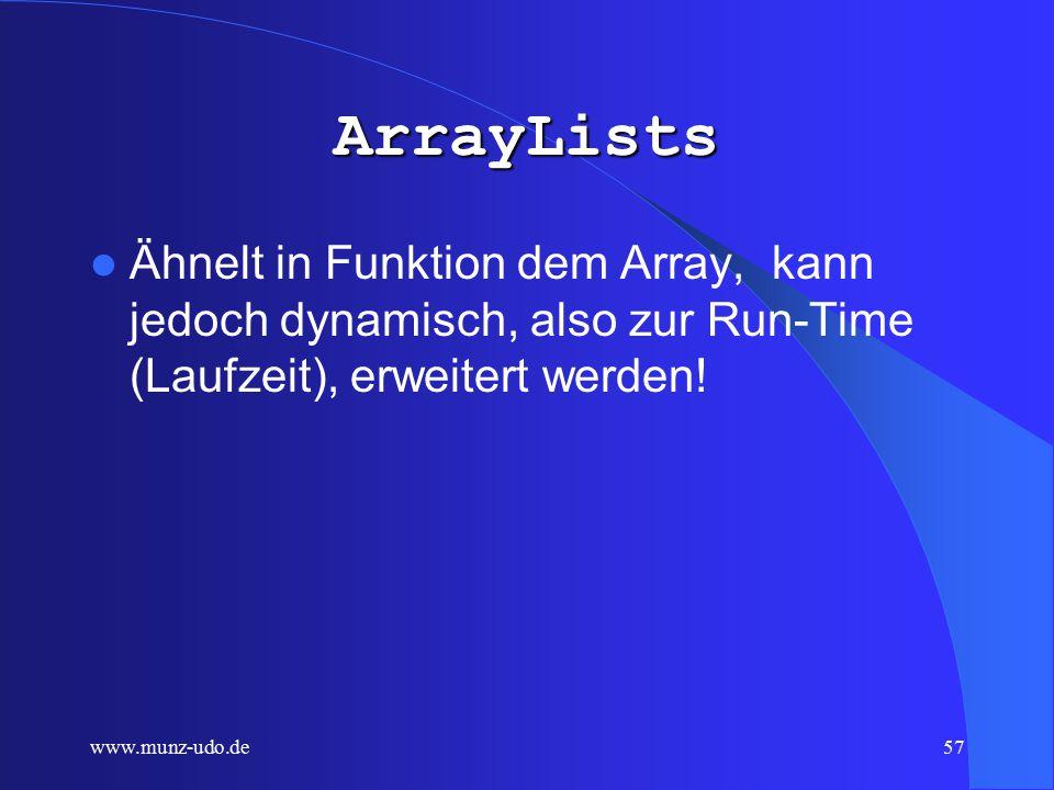 www.munz-udo.de56 Array Mehrere Variablen des gleichen Grundtyps ( primitive type, z.B.