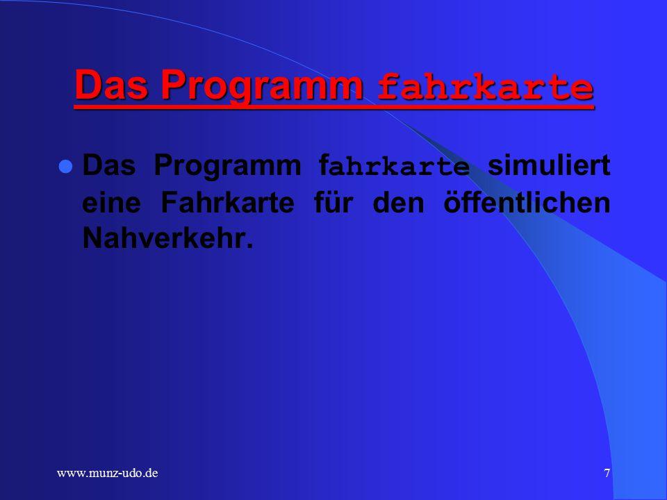 www.munz-udo.de6 Instanzen Konkretisierung eines Objekts: Instanzen benötigen -realen Speicherplatz mit -realen Werten.