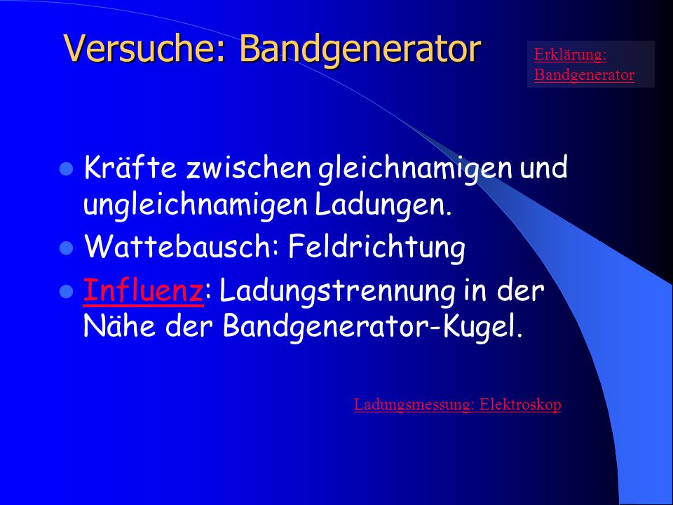 Versuche: Bandgenerator Kräfte zwischen gleichnamigen und ungleichnamigen Ladungen. Wattebausch: Feldrichtung Influenz: Ladungstrennung in der Nähe de