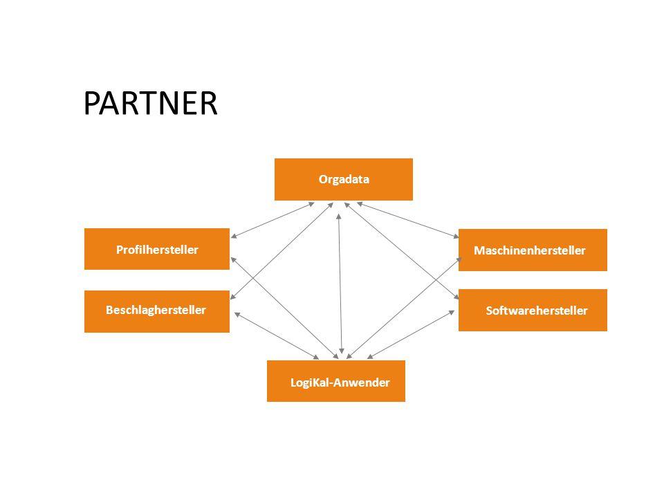PARTNER Orgadata Profilhersteller Beschlaghersteller Maschinenhersteller LogiKal-Anwender Softwarehersteller