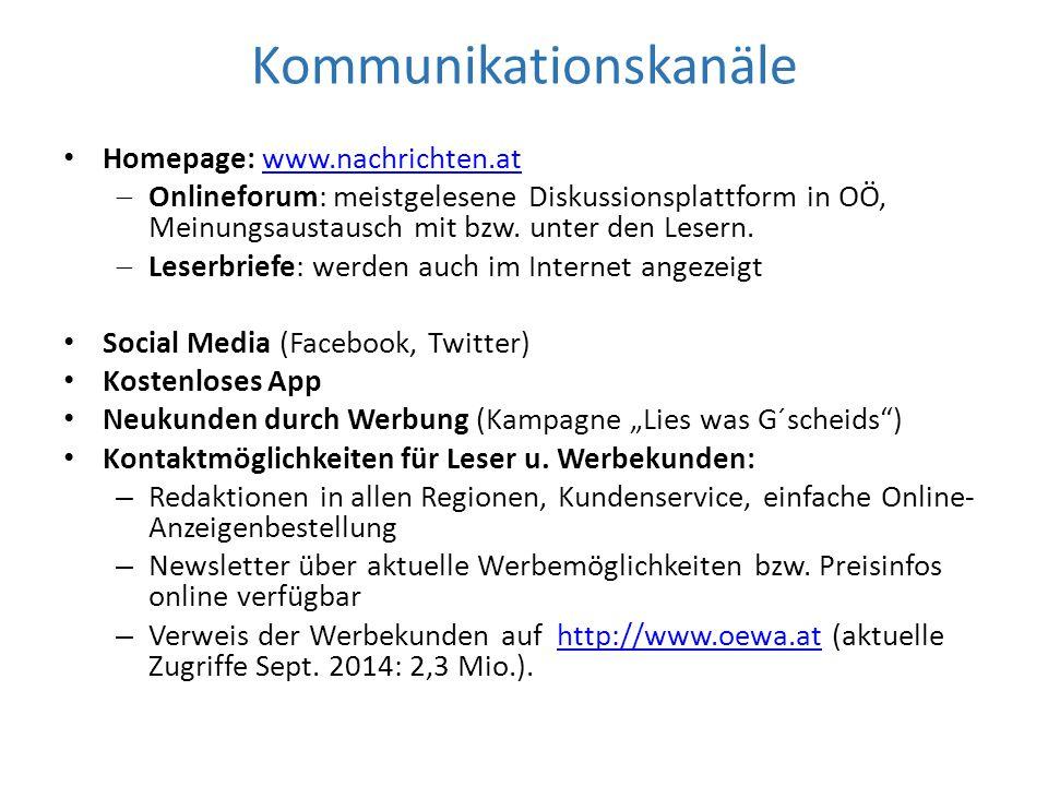Kommunikationskanäle Homepage: www.nachrichten.atwww.nachrichten.at  Onlineforum: meistgelesene Diskussionsplattform in OÖ, Meinungsaustausch mit bzw.