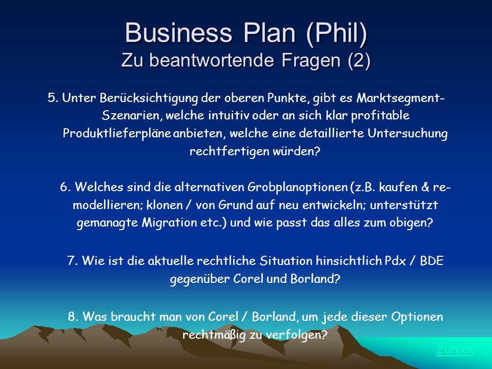 Business Plan (Phil) Zu beantwortende Fragen (2) 5.