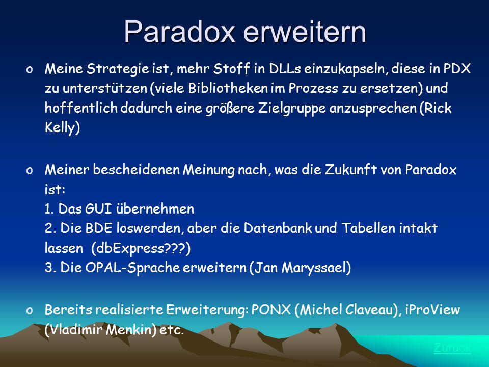 Paradox erweitern oMeine Strategie ist, mehr Stoff in DLLs einzukapseln, diese in PDX zu unterstützen (viele Bibliotheken im Prozess zu ersetzen) und hoffentlich dadurch eine größere Zielgruppe anzusprechen (Rick Kelly) oMeiner bescheidenen Meinung nach, was die Zukunft von Paradox ist: 1.