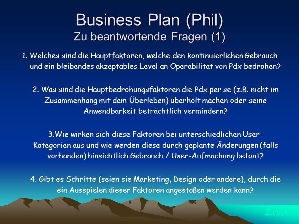 Business Plan (Phil) Zu beantwortende Fragen (1) 1.