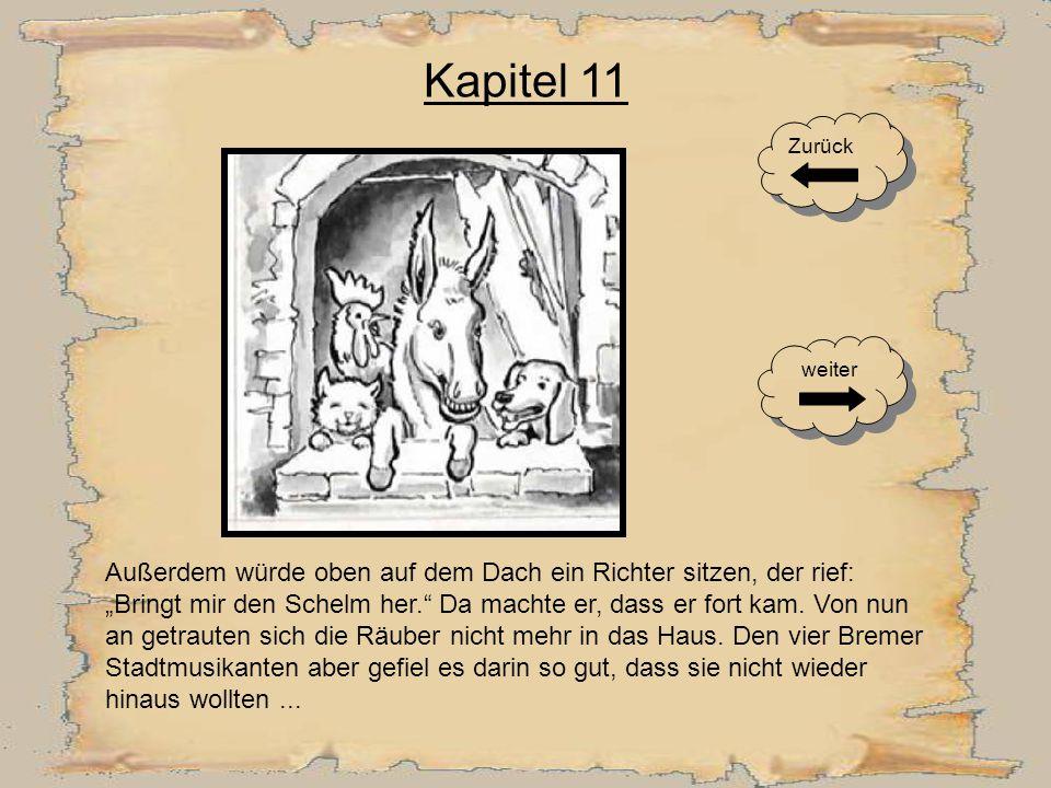 Kapitel 10 Der Räuber lief so schnell wie er konnte zu den anderen und sagte ihnen, dass in dem Haus eine greuliche Hexe sitzen würde, die ihm mit ihren langen Fingern das Gesicht zerkratzt hätte.