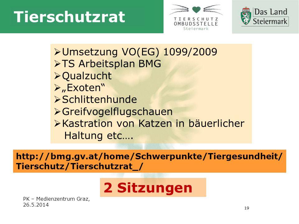 """19 Tierschutzrat PK – Medienzentrum Graz, 26.5.2014  Umsetzung VO(EG) 1099/2009  TS Arbeitsplan BMG  Qualzucht  """"Exoten  Schlittenhunde  Greifvogelflugschauen  Kastration von Katzen in bäuerlicher Haltung etc…."""