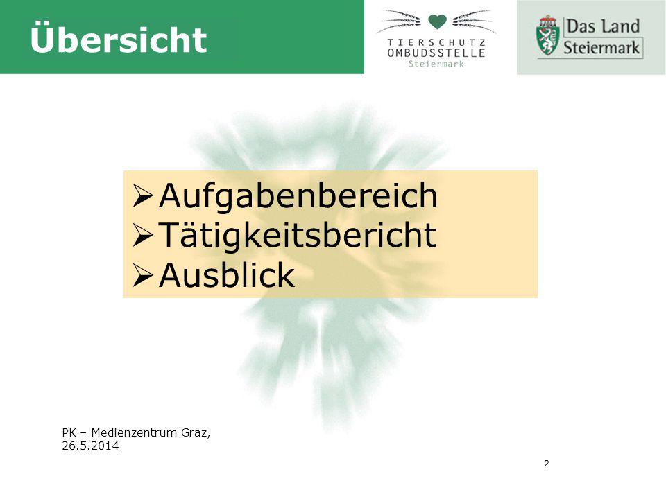 2 Übersicht  Aufgabenbereich  Tätigkeitsbericht  Ausblick PK – Medienzentrum Graz, 26.5.2014