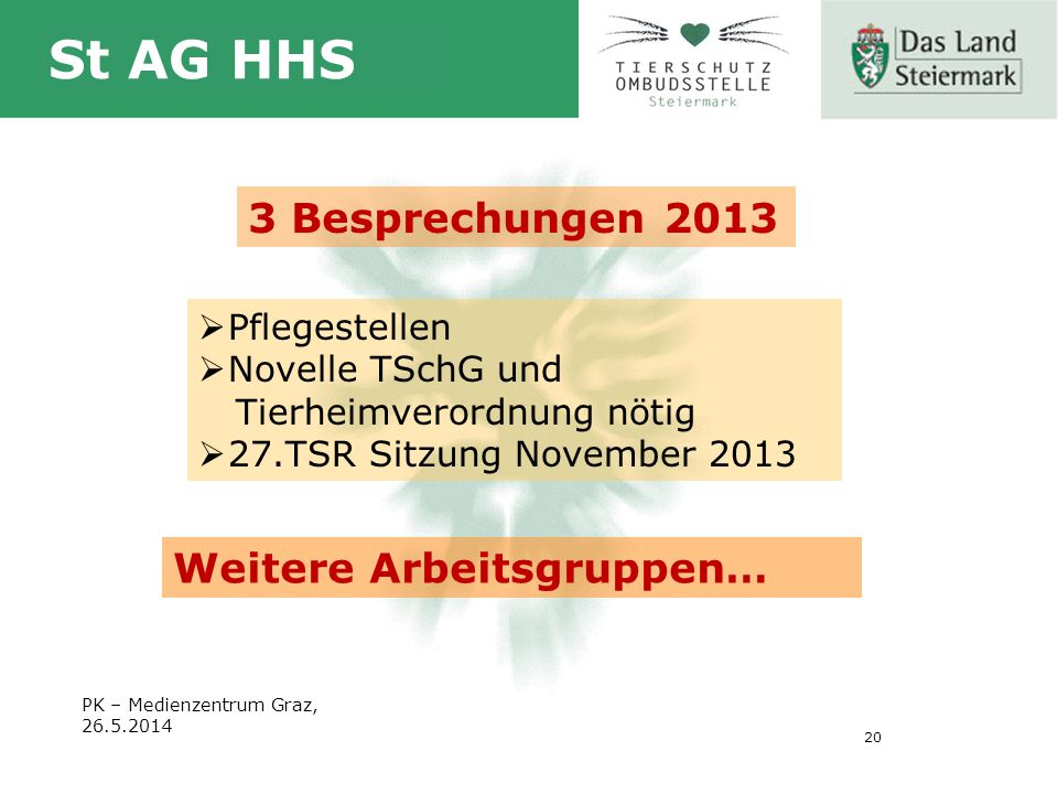 20 St AG HHS PK – Medienzentrum Graz, 26.5.2014 3 Besprechungen 2013  Pflegestellen  Novelle TSchG und Tierheimverordnung nötig  27.TSR Sitzung November 2013 Weitere Arbeitsgruppen…