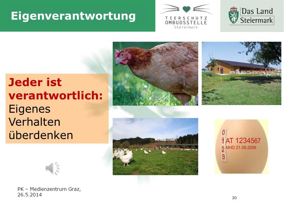 30 Eigenverantwortung Jeder ist verantwortlich: Eigenes Verhalten überdenken PK – Medienzentrum Graz, 26.5.2014