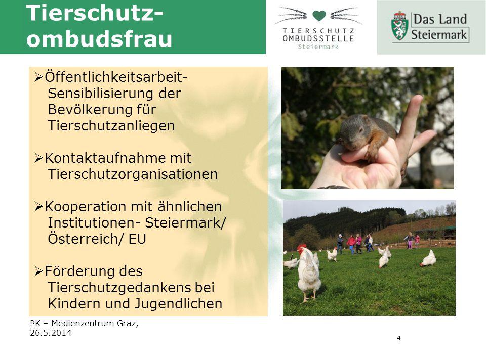 4 PK – Medienzentrum Graz, 26.5.2014 Tierschutz- ombudsfrau  Öffentlichkeitsarbeit- Sensibilisierung der Bevölkerung für Tierschutzanliegen  Kontaktaufnahme mit Tierschutzorganisationen  Kooperation mit ähnlichen Institutionen- Steiermark/ Österreich/ EU  Förderung des Tierschutzgedankens bei Kindern und Jugendlichen
