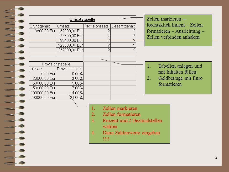2 1.Tabellen anlegen und mit Inhalten füllen 2.Geldbeträge mit Euro formatieren Zellen markieren – Rechtsklick hinein – Zellen formatieren – Ausrichtu