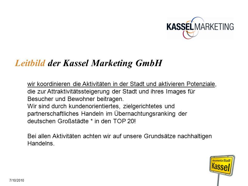 Leitbild der Kassel Marketing GmbH wir koordinieren die Aktivitäten in der Stadt und aktivieren Potenziale, die zur Attraktivitätssteigerung der Stadt und ihres Images für Besucher und Bewohner beitragen.
