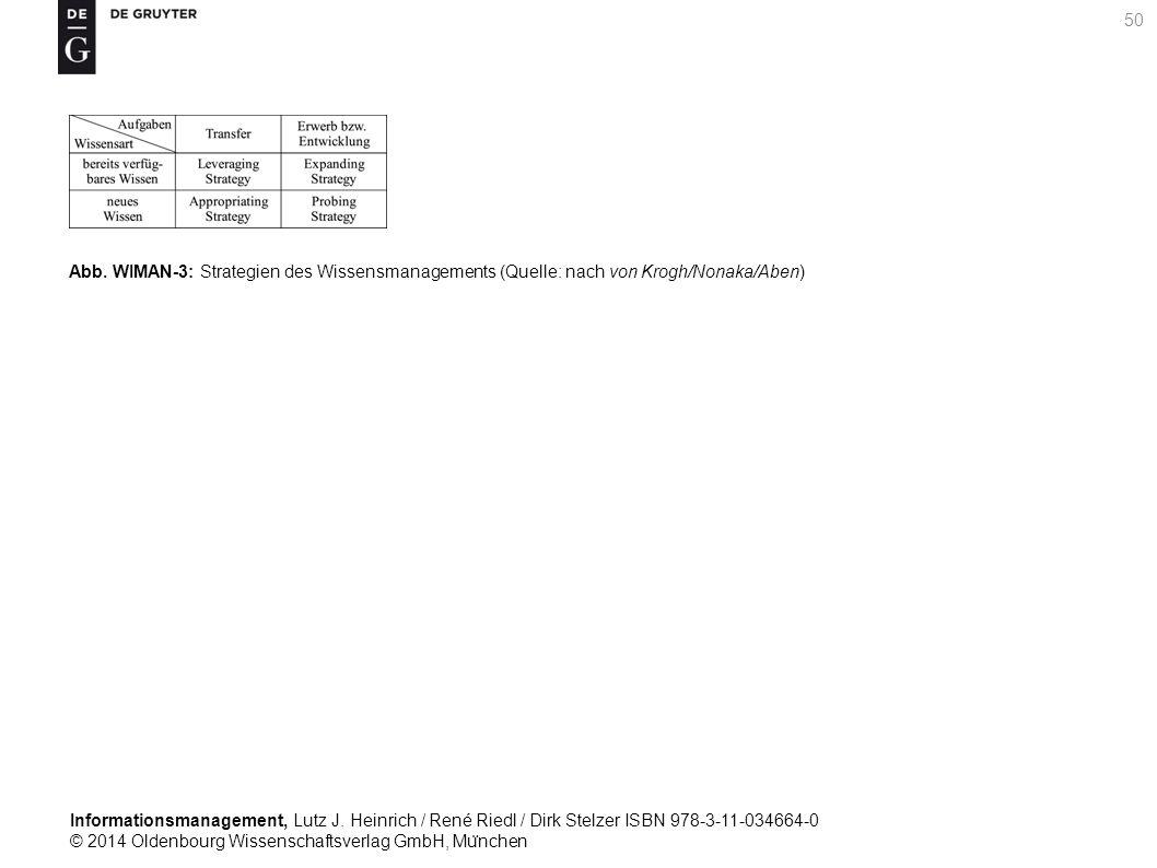 Informationsmanagement, Lutz J. Heinrich / René Riedl / Dirk Stelzer ISBN 978-3-11-034664-0 © 2014 Oldenbourg Wissenschaftsverlag GmbH, Mu ̈ nchen 50