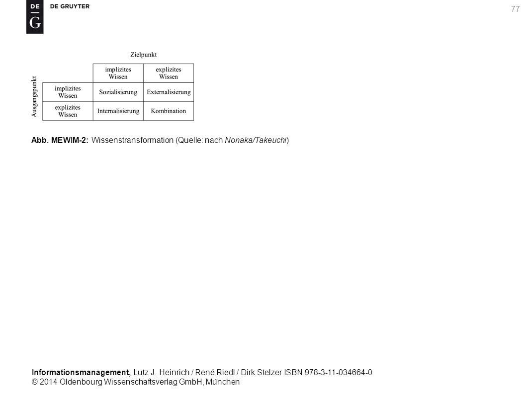 Informationsmanagement, Lutz J. Heinrich / René Riedl / Dirk Stelzer ISBN 978-3-11-034664-0 © 2014 Oldenbourg Wissenschaftsverlag GmbH, Mu ̈ nchen 77