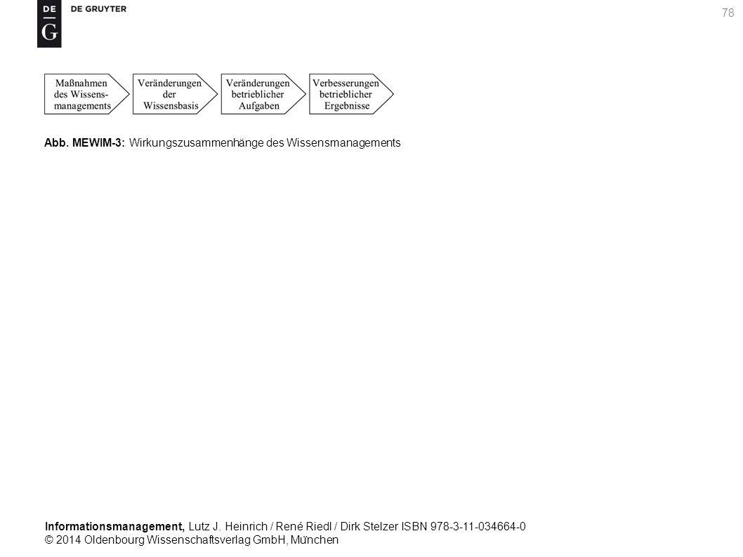 Informationsmanagement, Lutz J. Heinrich / René Riedl / Dirk Stelzer ISBN 978-3-11-034664-0 © 2014 Oldenbourg Wissenschaftsverlag GmbH, Mu ̈ nchen 78