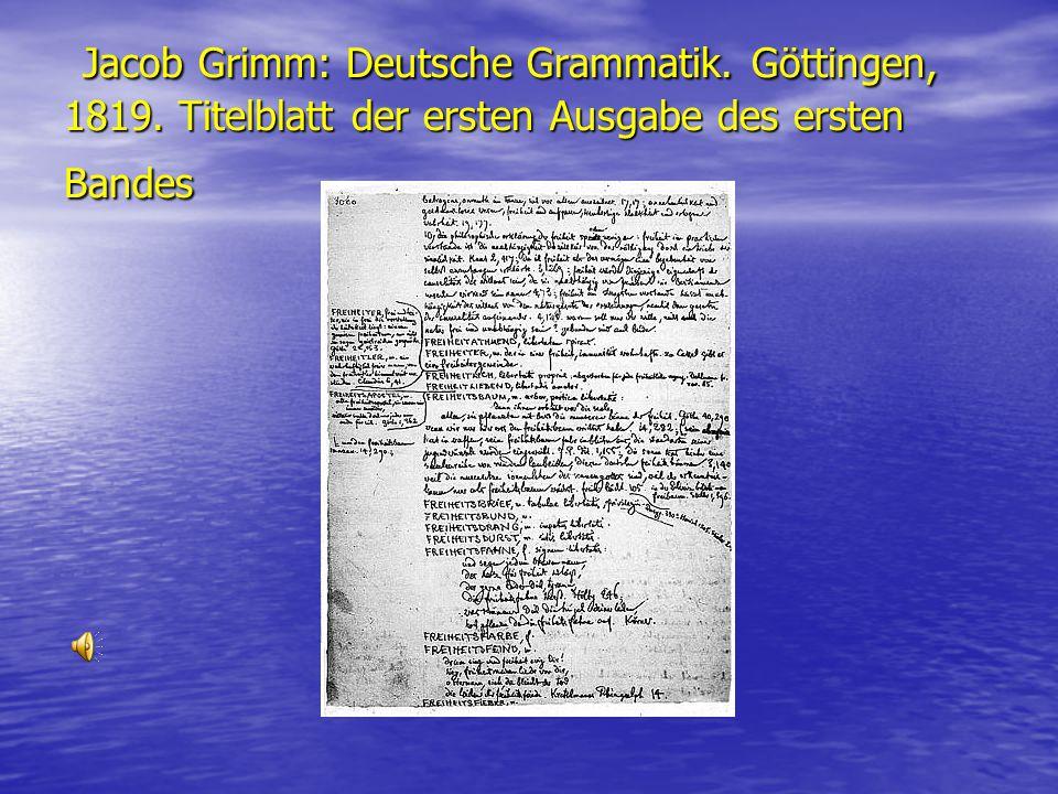 Jacob Grimm: Deutsche Grammatik. Göttingen, 1819. Titelblatt der ersten Ausgabe des ersten Bandes