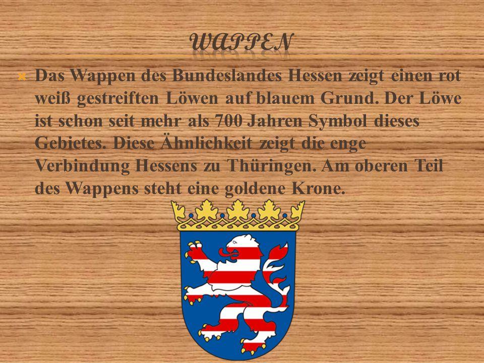  Das Wappen des Bundeslandes Hessen zeigt einen rot weiß gestreiften Löwen auf blauem Grund.