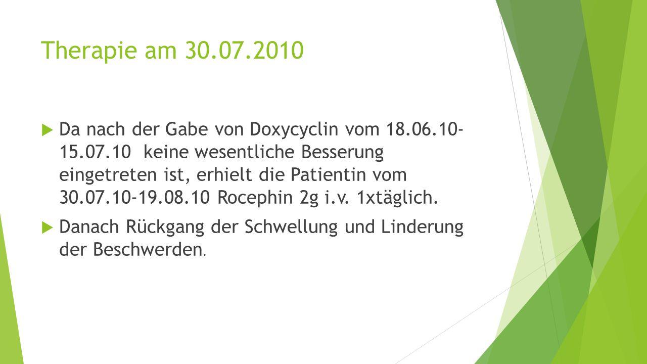 Therapie am 30.07.2010  Da nach der Gabe von Doxycyclin vom 18.06.10- 15.07.10 keine wesentliche Besserung eingetreten ist, erhielt die Patientin vom 30.07.10-19.08.10 Rocephin 2g i.v.