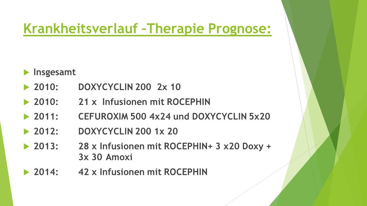 Krankheitsverlauf –Therapie Prognose:  Insgesamt  2010:DOXYCYCLIN 200 2x 10  2010: 21 x Infusionen mit ROCEPHIN  2011:CEFUROXIM 500 4x24 und DOXYCYCLIN 5x20  2012:DOXYCYCLIN 200 1x 20  2013:28 x Infusionen mit ROCEPHIN+ 3 x20 Doxy + 3x 30 Amoxi  2014:42 x Infusionen mit ROCEPHIN