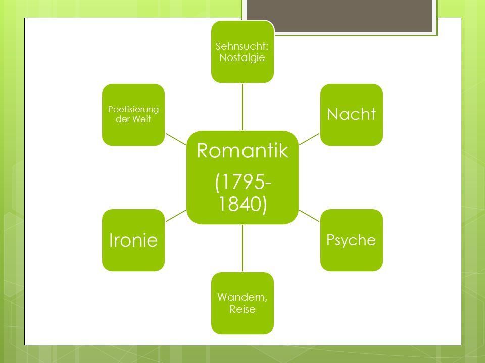 Romantik (1795- 1840) Sehnsucht: Nostalgie Nacht Psyche Wandern, Reise Ironie Poetisierung der Welt
