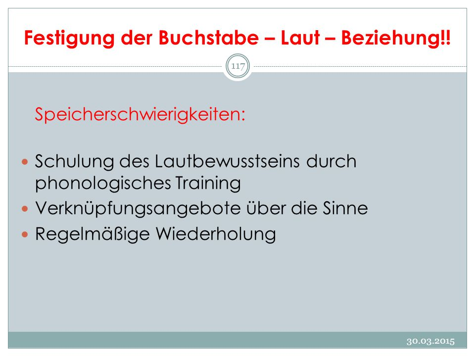 Festigung der Buchstabe – Laut – Beziehung!.