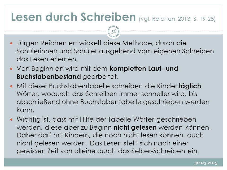 Lesen durch Schreiben (vgl. Reichen, 2013, S. 19-28) Jürgen Reichen entwickelt diese Methode, durch die Schülerinnen und Schüler ausgehend vom eigenen