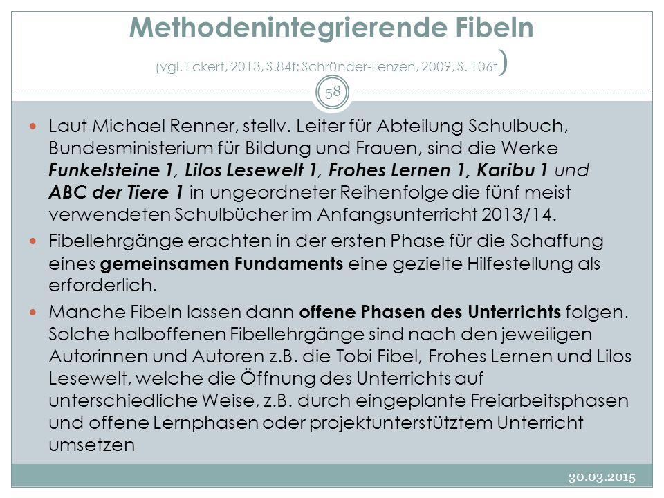 Methodenintegrierende Fibeln (vgl. Eckert, 2013, S.84f; Schründer-Lenzen, 2009, S. 106f ) Laut Michael Renner, stellv. Leiter für Abteilung Schulbuch,