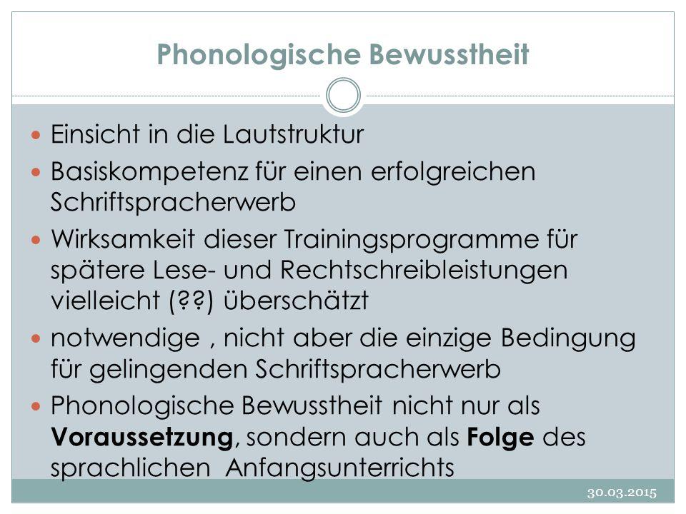 Phonologie im engeren Sinn 30.03.2015 Phonologische Bewusstheit im engeren Sinne richtet die Wahrnehmung auf die einzelnen Laute (Phoneme) eines Wortes.