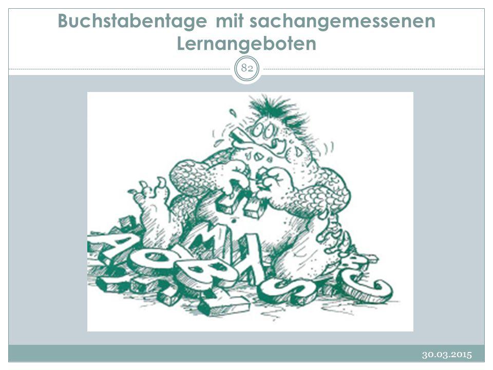 Buchstabentage mit sachangemessenen Lernangeboten 30.03.2015 82