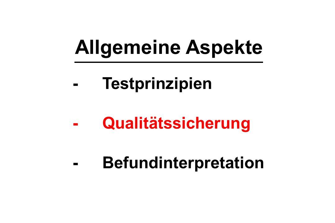 Allgemeine Aspekte -Testprinzipien -Qualitätssicherung -Befundinterpretation