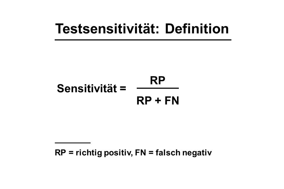 Testsensitivität: Definition Sensitivität = RP RP + FN RP = richtig positiv, FN = falsch negativ
