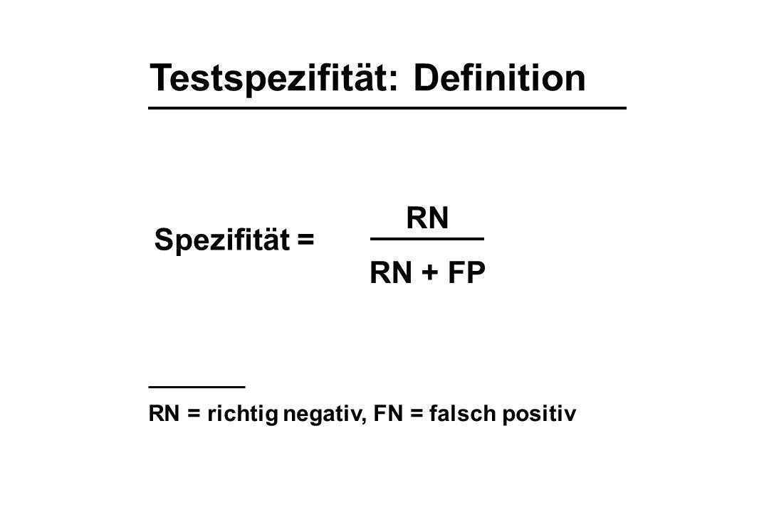 Testspezifität: Definition Spezifität = RN RN + FP RN = richtig negativ, FN = falsch positiv