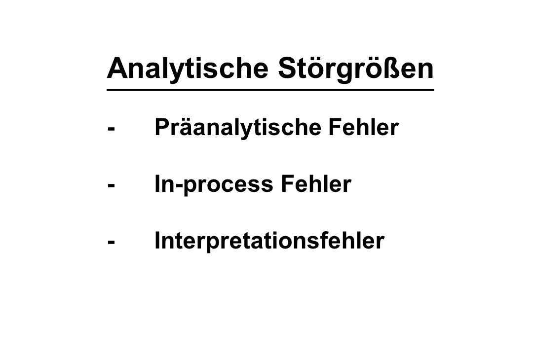 Analytische Störgrößen -Präanalytische Fehler -In-process Fehler -Interpretationsfehler