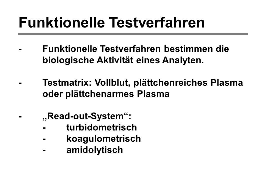 Funktionelle Testverfahren -Funktionelle Testverfahren bestimmen die biologische Aktivität eines Analyten. -Testmatrix: Vollblut, plättchenreiches Pla