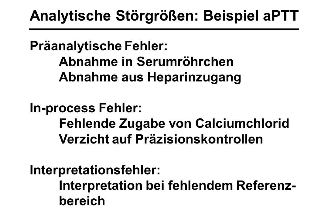 Analytische Störgrößen: Beispiel aPTT Präanalytische Fehler: Abnahme in Serumröhrchen Abnahme aus Heparinzugang In-process Fehler: Fehlende Zugabe von