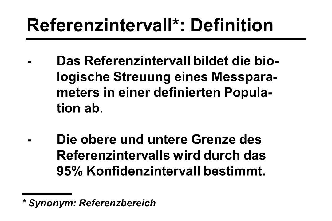 Referenzintervall*: Definition -Das Referenzintervall bildet die bio- logische Streuung eines Messpara- meters in einer definierten Popula- tion ab. -