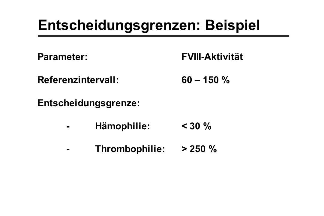 Entscheidungsgrenzen: Beispiel Parameter:FVIII-Aktivität Referenzintervall:60 – 150 % Entscheidungsgrenze: -Hämophilie:< 30 % -Thrombophilie:> 250 %