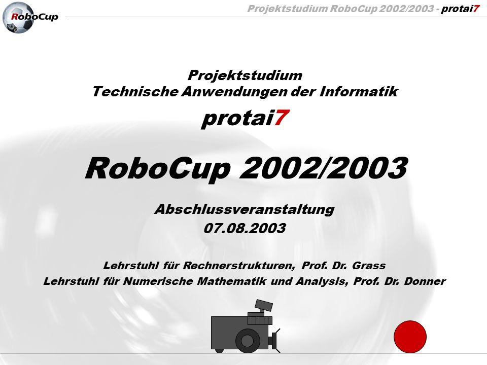 Projektstudium RoboCup 2002/2003 - protai7 42 / 74 Tracking Abfrage der Auto-Tracking-Funktion der Kamera über die serielle Schnittstelle Verwendung für Ballfindung, Gegnererkennung und Eigenpositionsfindung (z.B.