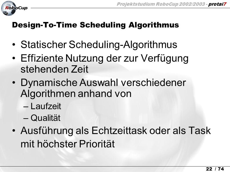 Projektstudium RoboCup 2002/2003 - protai7 22 / 74 Design-To-Time Scheduling Algorithmus Statischer Scheduling-Algorithmus Effiziente Nutzung der zur