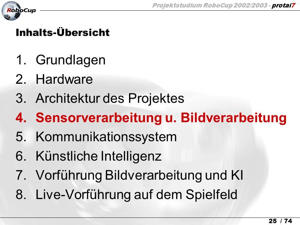 Projektstudium RoboCup 2002/2003 - protai7 25 / 74 Inhalts-Übersicht 1.Grundlagen 2.Hardware 3.Architektur des Projektes 4.Sensorverarbeitung u. Bildv