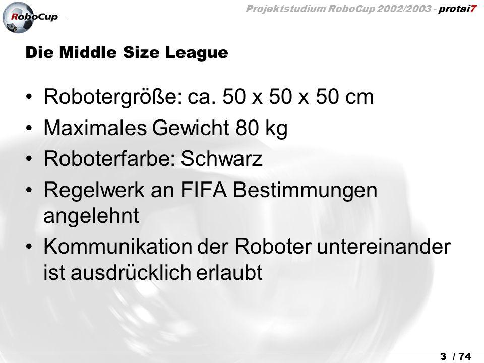 Projektstudium RoboCup 2002/2003 - protai7 3 / 74 Die Middle Size League Robotergröße: ca. 50 x 50 x 50 cm Maximales Gewicht 80 kg Roboterfarbe: Schwa