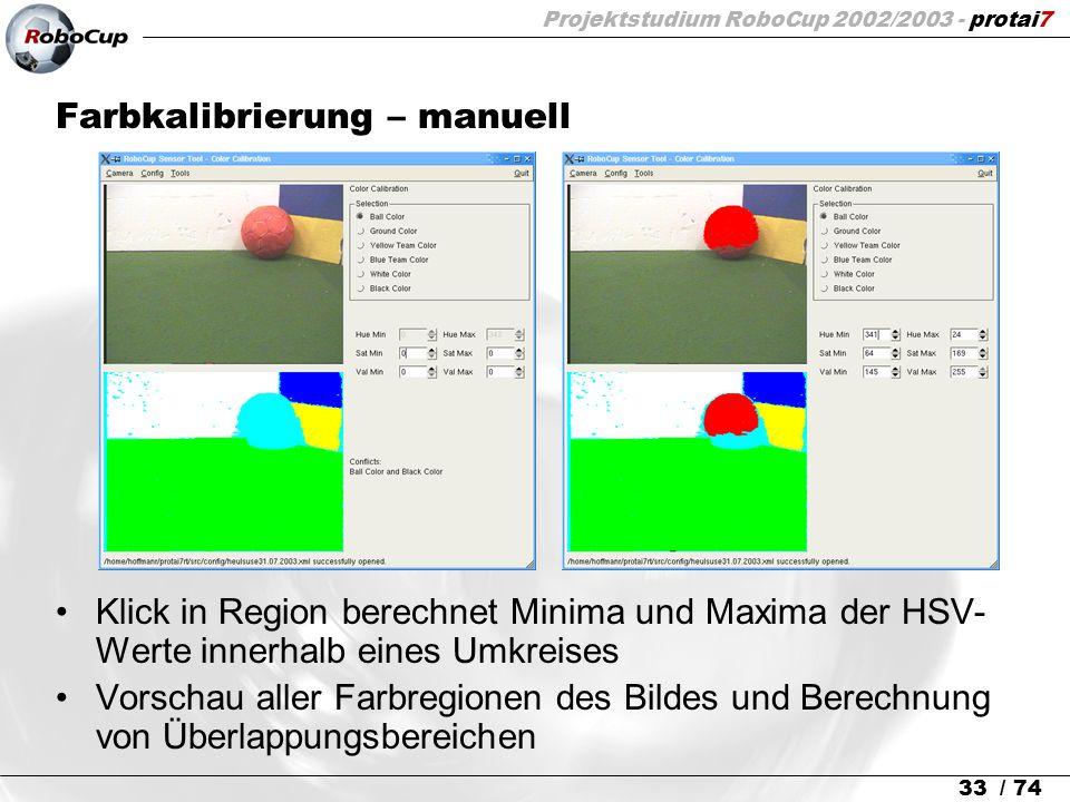 Projektstudium RoboCup 2002/2003 - protai7 33 / 74 Farbkalibrierung – manuell Klick in Region berechnet Minima und Maxima der HSV- Werte innerhalb ein