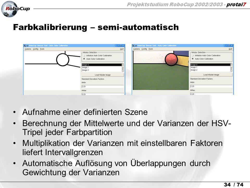 Projektstudium RoboCup 2002/2003 - protai7 34 / 74 Farbkalibrierung – semi-automatisch Aufnahme einer definierten Szene Berechnung der Mittelwerte und