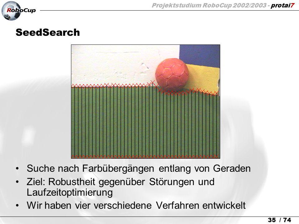 Projektstudium RoboCup 2002/2003 - protai7 35 / 74 SeedSearch Suche nach Farbübergängen entlang von Geraden Ziel: Robustheit gegenüber Störungen und L