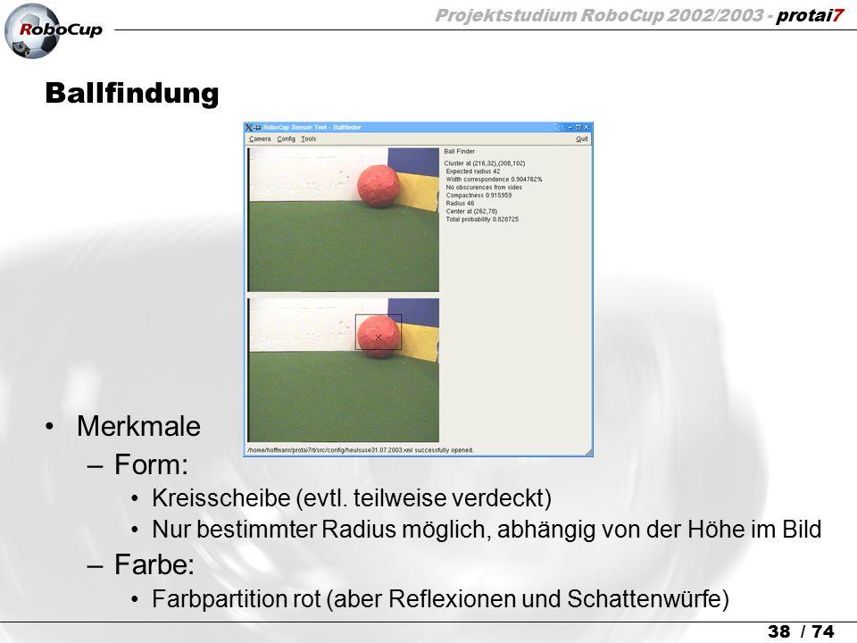 Projektstudium RoboCup 2002/2003 - protai7 38 / 74 Ballfindung Merkmale –Form: Kreisscheibe (evtl. teilweise verdeckt) Nur bestimmter Radius möglich,