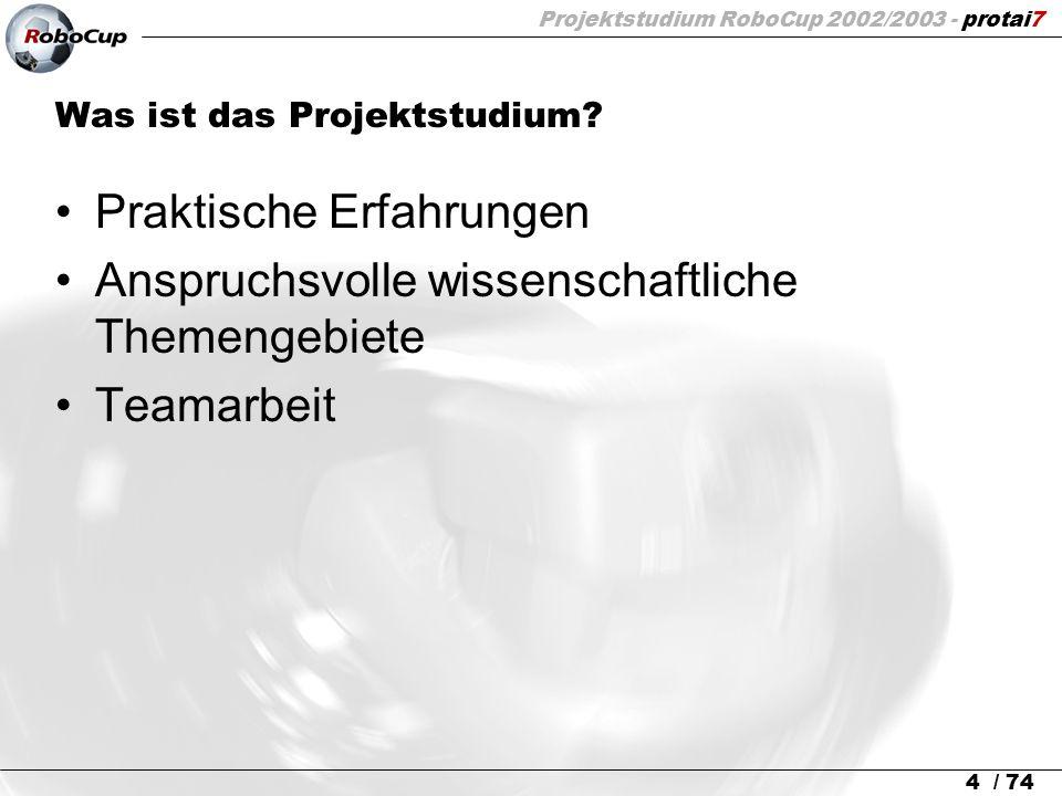 Projektstudium RoboCup 2002/2003 - protai7 25 / 74 Inhalts-Übersicht 1.Grundlagen 2.Hardware 3.Architektur des Projektes 4.Sensorverarbeitung u.