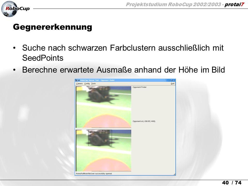 Projektstudium RoboCup 2002/2003 - protai7 40 / 74 Gegnererkennung Suche nach schwarzen Farbclustern ausschließlich mit SeedPoints Berechne erwartete