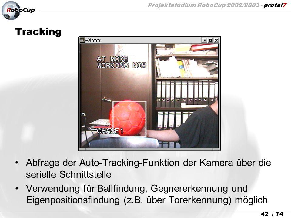 Projektstudium RoboCup 2002/2003 - protai7 42 / 74 Tracking Abfrage der Auto-Tracking-Funktion der Kamera über die serielle Schnittstelle Verwendung f