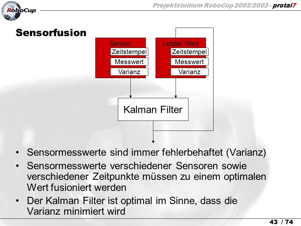 Projektstudium RoboCup 2002/2003 - protai7 43 / 74 Sensorfusion Sensormesswerte sind immer fehlerbehaftet (Varianz) Sensormesswerte verschiedener Sens
